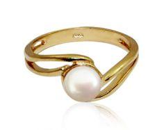 La perla del anillo  anillo lleno de oro regalo para su