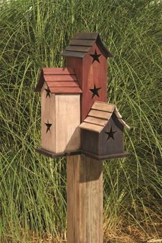 Primitive Wood Crafts | crafts diy / Amish Wooden Primitive Painted Trio Birdhouse | Amish ...