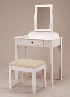 """White Founder Wooden Vanity Set w/ Stool & Mirror by Welcome Ihome Inc,. $93.99. Adjustable Tilt Mirror and Storage Drawer. Some assembly may be required.. Bench : 18"""" x 14"""" x 17"""" Tall. White Finish Bedroom Vanity Set. Vanity :28"""" x 16"""" x 50.5""""H. This is a gorgeous brand new vanity at a great price! This is done in an white finish. There's a mirror that is adjustable. This vanity is made well and will last. Isn't it elegant? The bench is included with the vanity. Vanity - 28"""" Wid..."""