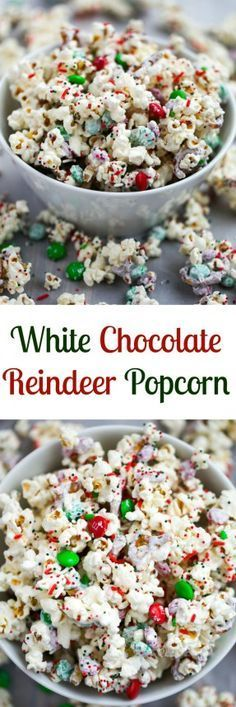 An easy popcorn mix that comes together in 5 minutes! White Chocolate Reindeer P… An easy popcorn mix that comes together in 5 minutes! White Chocolate Reindeer Popcorn is perfect for Christmas or to make all year round. Christmas Sweets, Christmas Cooking, Christmas Goodies, Christmas Candy, Cozy Christmas, Christmas Music, Christmas Bedroom, Christmas Deserts Easy, Easy Christmas Cookies