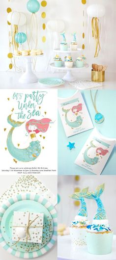 Papereskimo.com | Mint + Gold Birthday Party | Gold Striped Napkins | Mint Confetti Napkins | Mint + Gold Confetti Paper Cups | Mint Decor | Mint First Birthday Party | Polka Dot Decor | Tea Party | Princess Mermaid Party | Under the Sea Party
