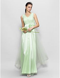 Floor-length Tulle Bridesmaid Dress - Sage A-line V-neck