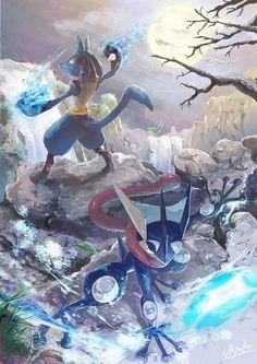 Lucario & Greninja - Super Smash Bros via Pixiv
