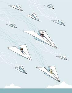 Nursery Art - Paper Airplane Air Force. $32.00, via Etsy.