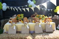 Join in the fun and games at a children's teddy bear picnic, on a sunny afternoon.
