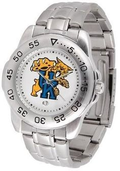 Kentucky Sport Men's Steel Band Watch by SunTime. $54.95. This handsome, eye-catching watch comes with a stainless steel link bracelet. A date calendar function plus a rotating bezel/timer circles the scratch resistant crystal. Sport the bold, colorful, high quality logo with pride.