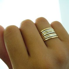 Two Tone Ring Gold and Silver Ring Set Stacking Ring Set Minimalist Rings Hammered Stacking Rings Mixed Metal Rings Set Stackable Gold Rings Gold Gold, Gold And Silver Rings, Silver Stacking Rings, Gold Filled Jewelry, Gold Jewelry, Diamond Jewelry, Stacked Rings, Craft Jewelry, Jewelry Box