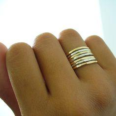 Hammered Sterling Silver 12 kt Gold Filled 7 Band Stack Ring Set $45