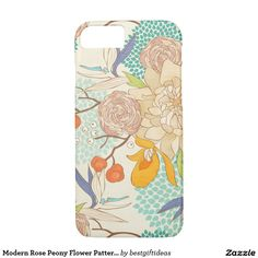 Modern Rose Peony Flower Pattern iPhone 7 Case