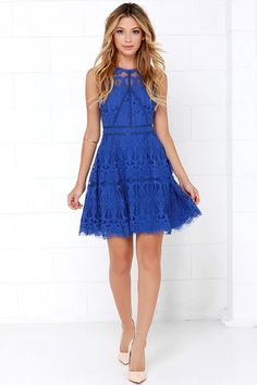 On the Up and Up Cobalt Blue Lace Dress at Lulus.com!