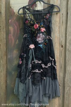 RESERVED for S--Secret garden dress-- whimsy bohemian tunic, embroidered, antique trims, vintage silks Floaty Dress, Garden Dress, Boho Fashion, Fashion Decor, Style Fashion, Altered Couture, Boho Outfits, Trending Outfits, My Style