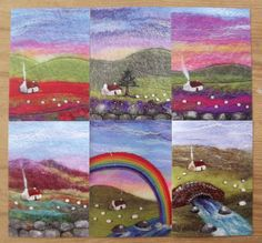 Set of Six Printed Felt Landscape Greetings by AileenClarkeCrafts, £12.00
