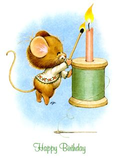 Happy Birthday Flower, Happy Birthday To Us, Cute Images, Cute Pictures, Happy Pictures, Pix Art, Hamster, Cute Mouse, Sewing Art