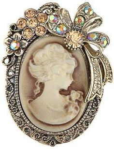 Vintage Inspired Crystal Rhinestone Victorian Lady Cameo Brooch Pin Maiden Flower Ribbon Bow Pendant * Check out the image by visiting the link. (This is an affiliate link) Cameo Jewelry, Antique Jewelry, Vintage Jewelry, Vintage Brooches, Jewellery, Jewelry Gifts, Victorian Jewelry, Jewelry Bracelets, Bijoux Art Deco