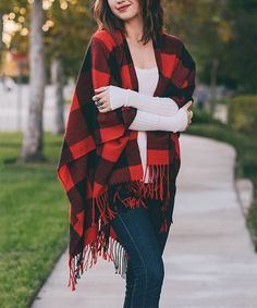 Just ordered this --> Red & Black Buffalo Check Ruana by Leto Collection #zulilyfinds