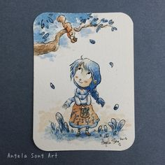 Little gifts. #aceo #original #watercolor #painting #illustration #art #tradingcards #angelasongart