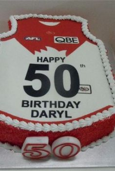 AFL Jumper Cake for Sydney swans from rnjcakes franks ton Victoria. 60th Birthday, Birthday Cakes, Birthday Ideas, Happy 50th, Cake Images, Party Venues, Novelty Cakes, How To Make Cake, Party Invitations