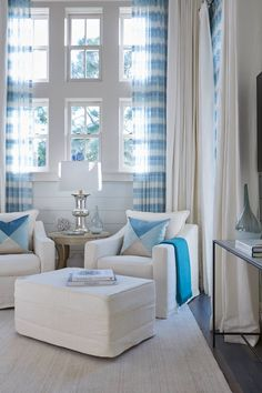 bedroom sitting area in blue and white