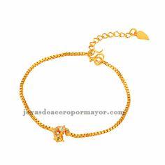 brazalete de cristal zorro dorado en acero inoxidable-BRBTG90114