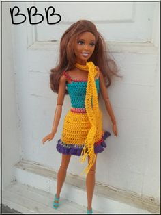 Crochet Barbie Clothes Brightly Colored by BarbieBoutiqueBasics
