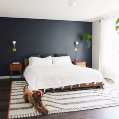 We're taking a look back at @findfarah's bold + beautiful bedroom for some weeknight inspiration. Can you say, #bedroomgoals? 👌 Shop bedroom (at 20% off!) and see the full home tour with the link in profile! #mywestelm #dogsofwestelm