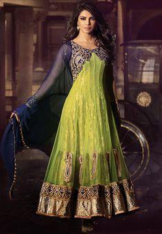 Light Neon Green Net and Chantelle Net Abaya Style Churidar Kameez Online Shopping: KWY822
