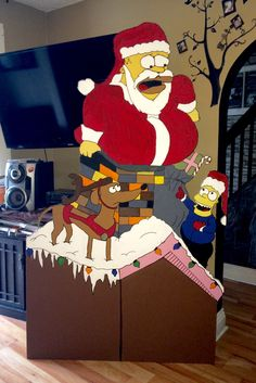 Simpsons Christmas cutout. DIY acrylic paint. Plywood yard decoration. Homer, Bart and Santa's little helping