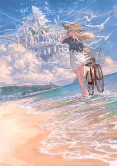 Anime Girl Cute, Kawaii Anime Girl, Anime Art Girl, Manga Art, Manga Anime, Fantasy Art Landscapes, Fantasy Landscape, Fantasy Artwork, Anime Scenery Wallpaper