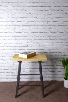 Escafell Custom Furniture  Modern Industrial Ash and Steel Stool  For sale we…