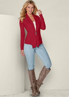 BUCKLE FRONT CARDIGAN, SEAMLESS CAMI, COLOR SKINNY JEANS, EMBELLISHED WESTERN BOOT