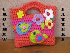 Girls Bag / Purse with Birds and Flowers , Crochet Pattern PDF,Easy, Great for Beginners,  Pattern No. 16. $4.50, via Etsy.