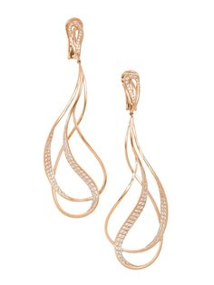 London Collections - 18K Rose Gold Double Long Loop Diamond Earrings - at - London Jewelers