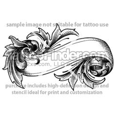 scroll tattoo stencil | TattooFinder.com : Flourish Work tattoo design by David Walker