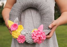 Yarn wrapped Wreath with Dimensional Felt Flowers, Pink, Yellow, Grey Made to Order by Catshy Crafts.