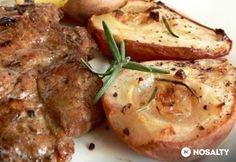 Tarjaszeletek rozmaringos körtével Baked Potato, Food And Drink, Pork, Potatoes, Chicken, Meat, Baking, Ethnic Recipes, Pork Roulade