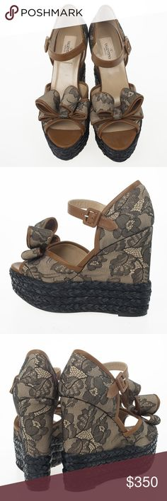 Valentino Bow Lace Platform Espadrille Wedges Brand new. Comes with box and dust bag. Valentino Garavani Shoes Wedges