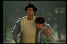 Actor Sylvester Stallone w. arm around son, Sage, in scene fr. motion picture Rocky V.. (Photo by John Bryson//Time Life Pictures/Getty Images)