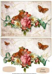 Vintage Bloemen En Vlinders Fancy Faux Envelop Card