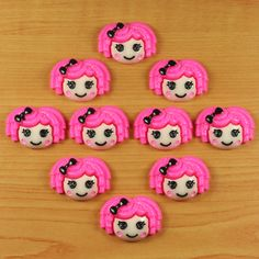 10 pcs Resin Lalaloopsy Hot Pink Hair Flatback Scrapbooking HairBows Crafts DIY