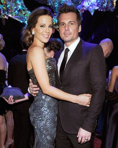 InStyle and Warner Bros. Golden Globes After-Party - KATE BECKINSALE AND LEN WISEMAN not only got caught up with each other at the Golden Globes celebration, but in the environment as well! The venue featured 3,600 individual squares of multicolored film, connected by 14,400 metal rings, which formed an aurora borealis of iridescent color in the center of the room.