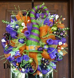Whimsical Halloween Wreath with Green and Purple by decoglitz