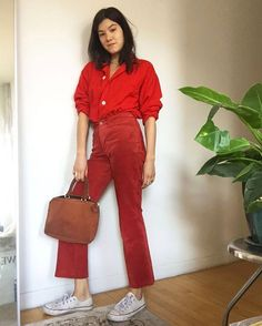 "12.1k Likes, 86 Comments - Man Repeller (@manrepeller) on Instagram: ""@annazgray makes monochrome red look like the best idea since sliced bread and don't worry that…"""