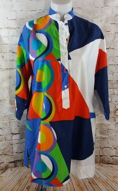 VTG 60s Dress Catherine Ogust Penthouse Gallery Burma Cover Up Tunic Mid Century #CatherineOgustforPenthouseGallery #Shift