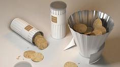 ดีไซน์ดีมาก   Potato Chip Container Doubles Up A Bowl For Easy Sharing - DesignTAXI.com