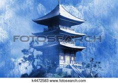 Buddhist Zen Temple at misty  night View Large Illustration