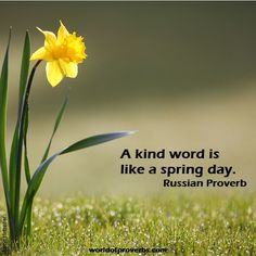 World of Proverbs - Famous Quotes: A kind word is like a Spring day. ~ Russian Proverb [15436]