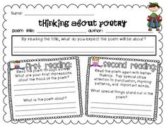 This is a good way to keep the students thinking about the poem before, during, and after their reading.