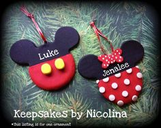 Personalized Mickey or Minnie Mouse ornament! Sweet way to remember the magic of Disney every Christmas!! Must DIY...