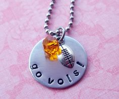 Hand Stamped Tennessee Vols Football Necklace by SimplySweetHome, $17.00