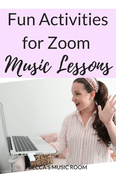 Fun Zoom Music Lessons for Distance Learning - Becca's Music Room Online Music Lessons, Elementary Music Lessons, Music Lessons For Kids, Music Lesson Plans, Music For Kids, Piano Lessons, Music Online, Elementary Schools, Becca Music